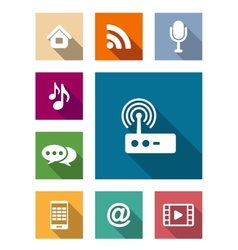 Set of flat media and communication icons vector