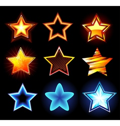 set of glowing stars vector image