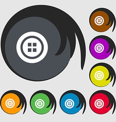 Sewing button sign Symbols on eight colored vector