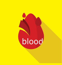 Simple flat blood drop logo icon vector