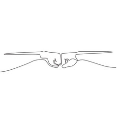 Single continuous line drawing hands two men vector