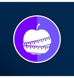 Slimming apple icon slim weight diet vector image