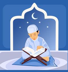Small children are reading qr vector