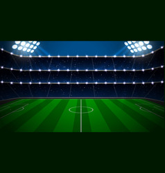 Soccer stadium with green field vector