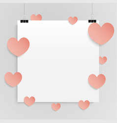 square paper sheet hearts love romabce vector image