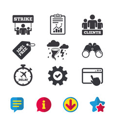 Strike icon storm weather and group people vector