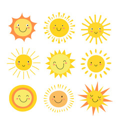 Sun emoji funny summer sunshine sun baby happy vector