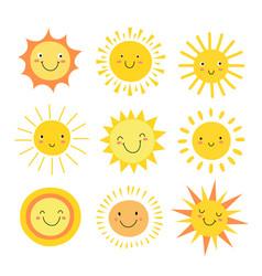 sun emoji funny summer sunshine sun bahappy vector image