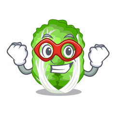 Super hero character chinese cabbage in wooden vector