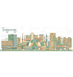 Tangerang indonesia city skyline with color vector
