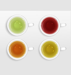 tea cups top view set isolated on white background vector image