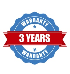 three years warranty seal - round stamp vector image