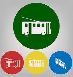 Trolleybus sign 4 white styles of icon at vector