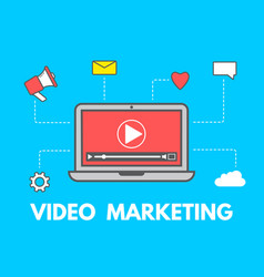 video marketing concept laptop with business vector image