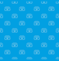 vintage boombox pattern seamless blue vector image