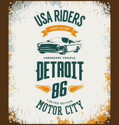 Vintage cabriolet vehicle t-shirt logo on vector