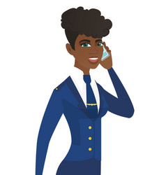young african stewardess talking on a mobile phone vector image