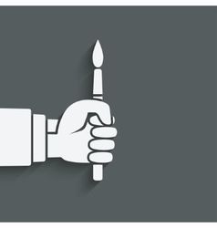 artist hand with brush vector image