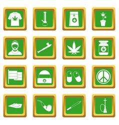 Rastafarian icons set green vector