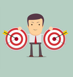 successful businessman aiming target with arrow vector image