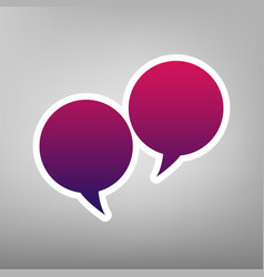 Two speech bubble sign purple gradient vector
