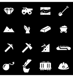 white mining icon set vector image vector image
