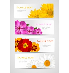 banners with different colorful flowers vector image