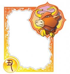 chinese horoscope frame series bull vector image vector image