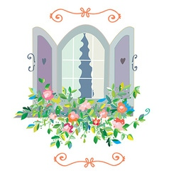 Window with flowers card - retro design vector image vector image
