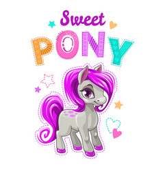 cute cartoon little horse with purple hair vector image vector image