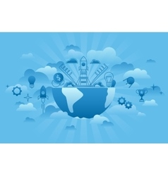 global startup concept blue vector image