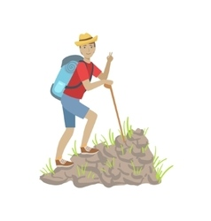 Man Climbing A Rocky Slope With Backpack vector image vector image