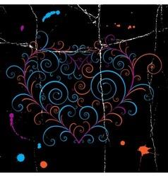 Dark grunge heart vector image