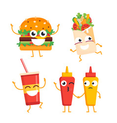 fast food characters - set of mascot vector image