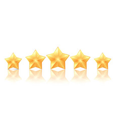 five golden stars with reflection on white vector image