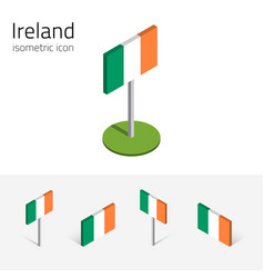 ireland flag set of 3d isometric icons vector image vector image