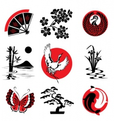 japanese design elements vector image vector image
