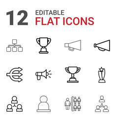 12 leadership icons vector