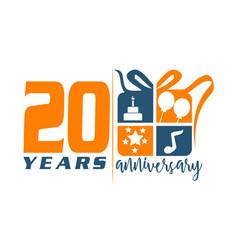 20 year gift box ribbon anniversary vector