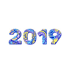 2019 year doodles numbers in blue and yellow vector image