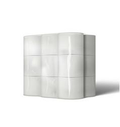 3d big package of toilet paper rolls mockup vector