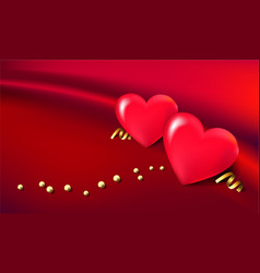 3d hearts balloons with golden beads on beautiful vector