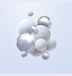 3d white and silver spheres cluster vector image