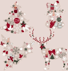 Abstract Christmas Icon Collage Set vector