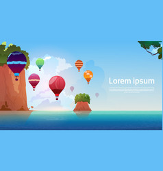 Air balloons flying over summer sea landscape vector