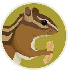 Animals rounde frame chipmunk with peanut vector