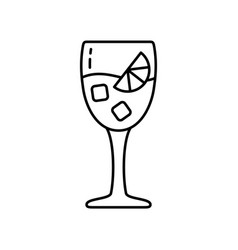 Aperol spritz linear icon glass with alcoholic vector