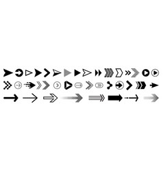 arrows icons set modern simple flat black pointer vector image