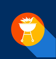 Barbecue with fire sign white icon on vector