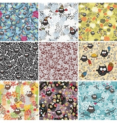 Big set of seamless patterns with cute owls vector image
